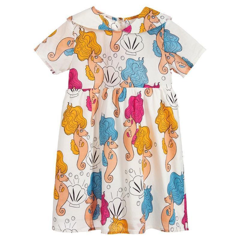 【 mini rodini 2019SS 】50103  Seahorse sailor dress / Offwhite