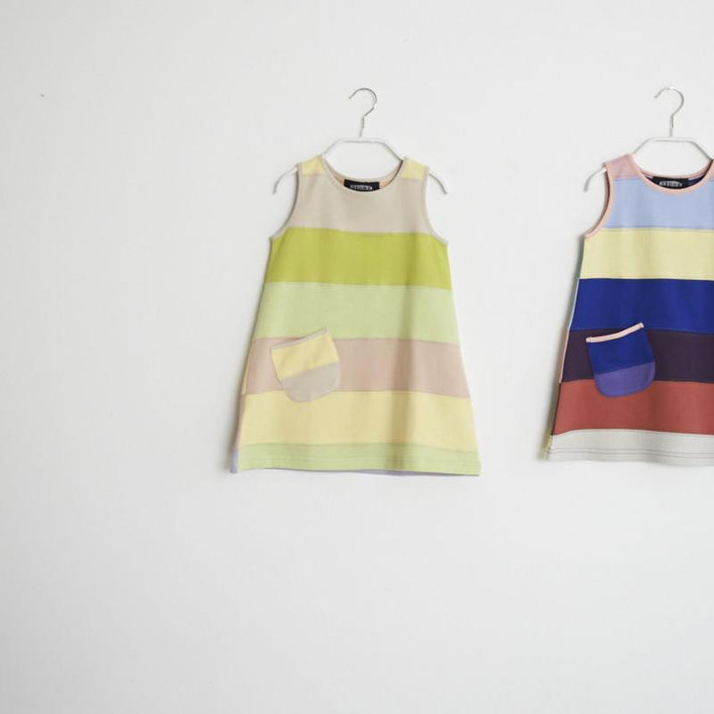 【 STORE 19SS】ボーダー ノースリーブ ワンピースTシャツ / #4〜5 / 90cm