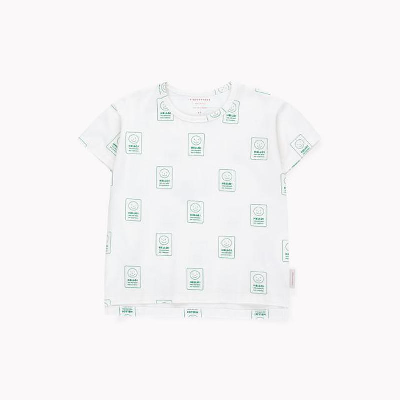 【 tiny cottons 2019SS 】SS19-029 'SMILE' SS TEE / off-white/deep green