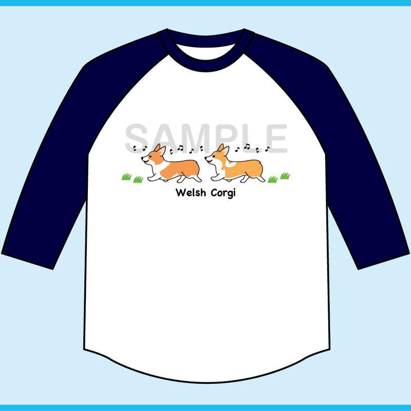 お散歩コーギー 7分袖ベースボールTシャツ(ボディ色ホワイト×袖ネイビー)