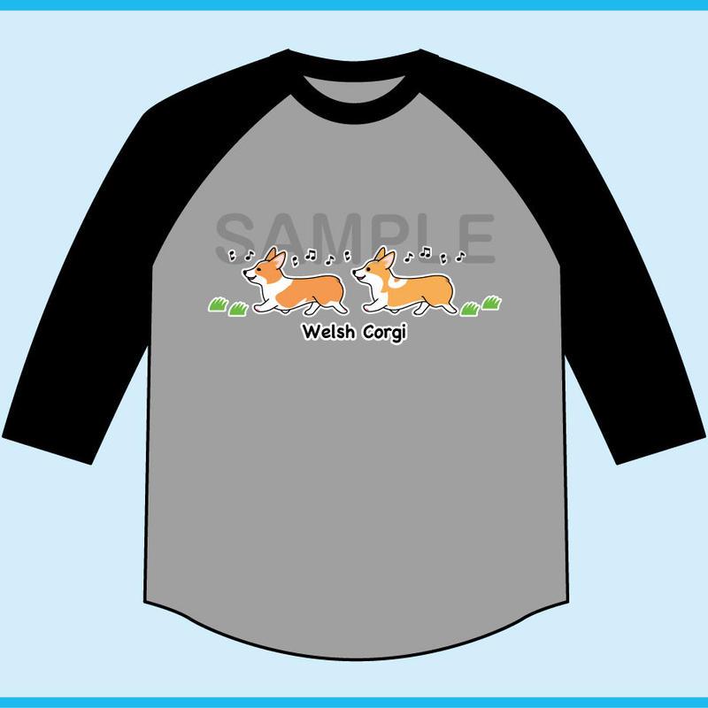 お散歩コーギー 7分袖ベースボールTシャツ(ボディ色杢グレー×袖ブラック)