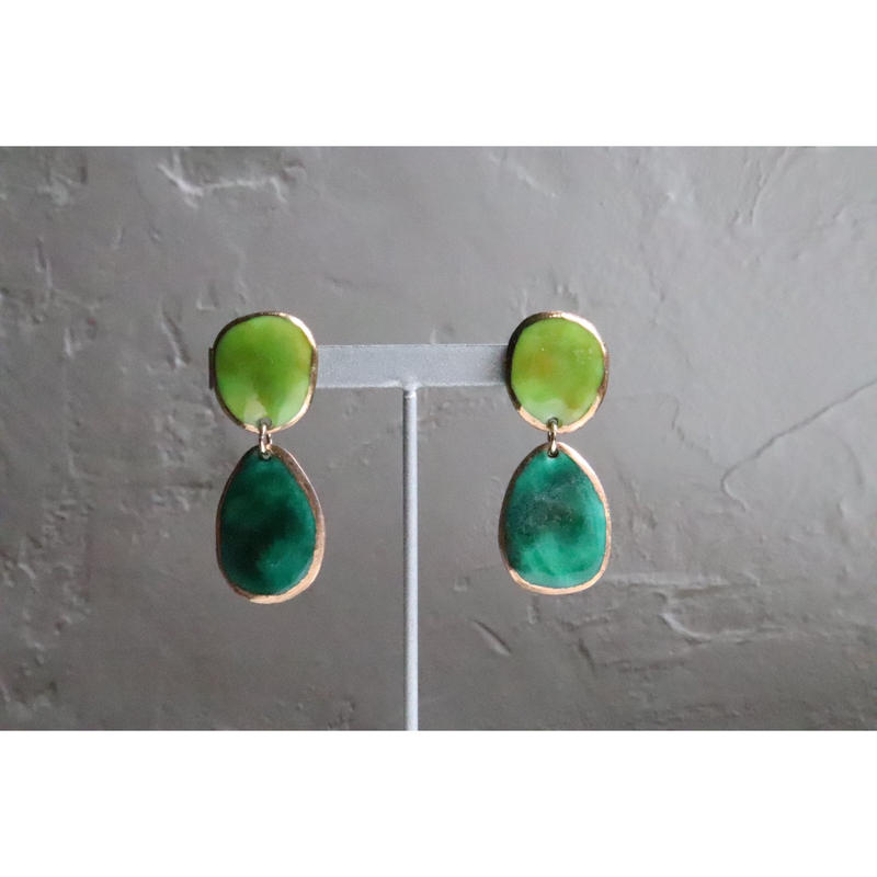 【2stones earrings green】[PEKI!RARIGON]