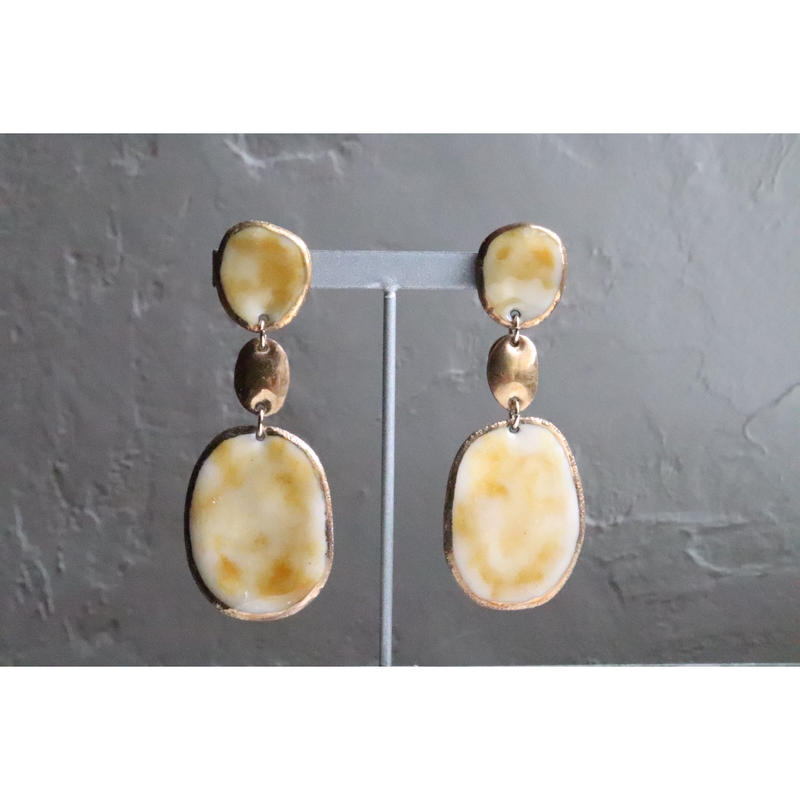 【3stones earrings marble yellow】[PEKI!RARIGON]