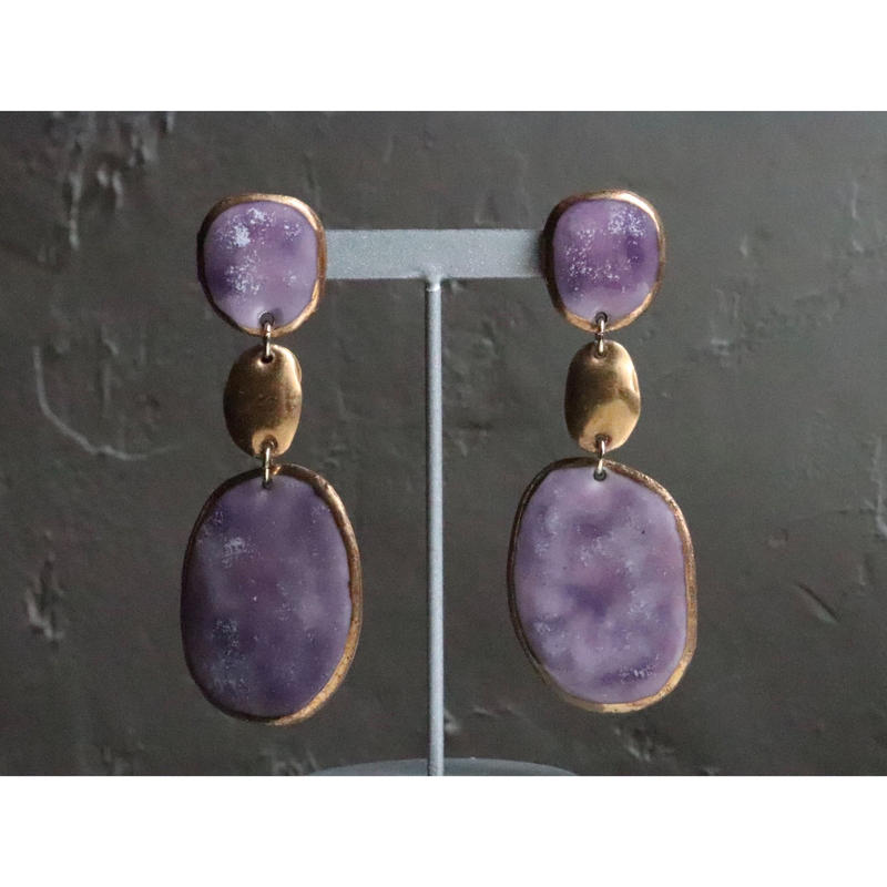 【3stones earrings marble purple】[PEKI!RARIGON]