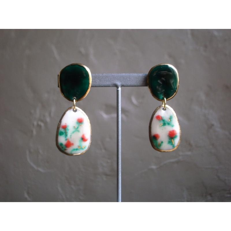 【2stones earrings rose garden】[PEKI!RARIGON]