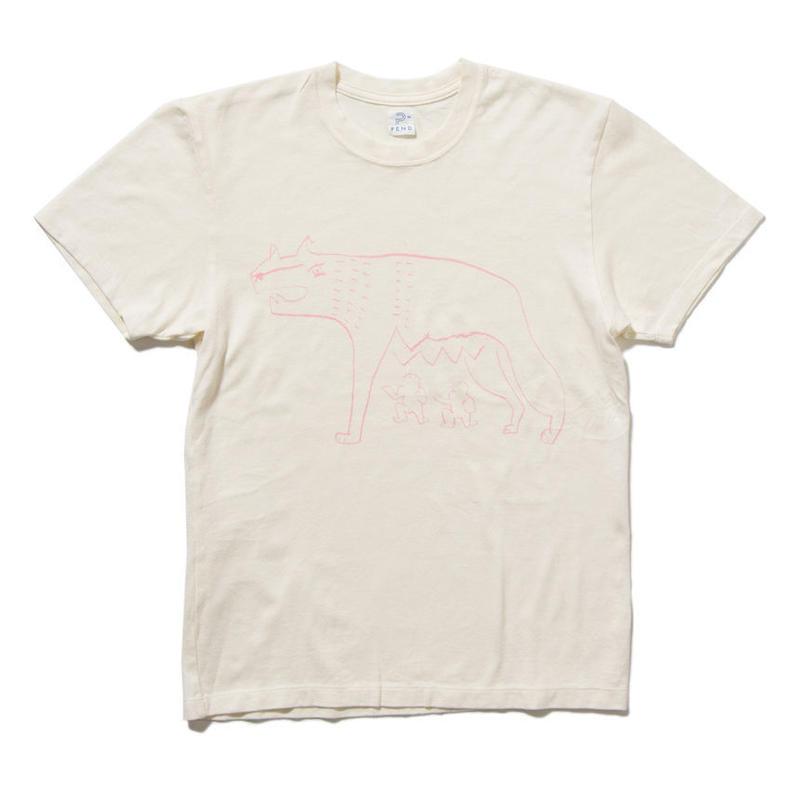 EN-T008:狼イラストTシャツ(PINK)