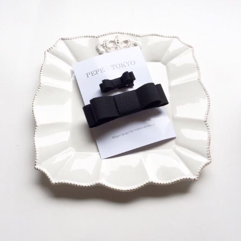 【親子お揃いセット】日本製リボン のブラック