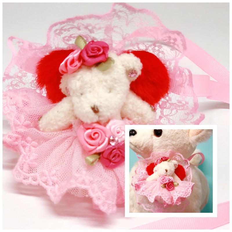 撮影用チョーカー/pink bear