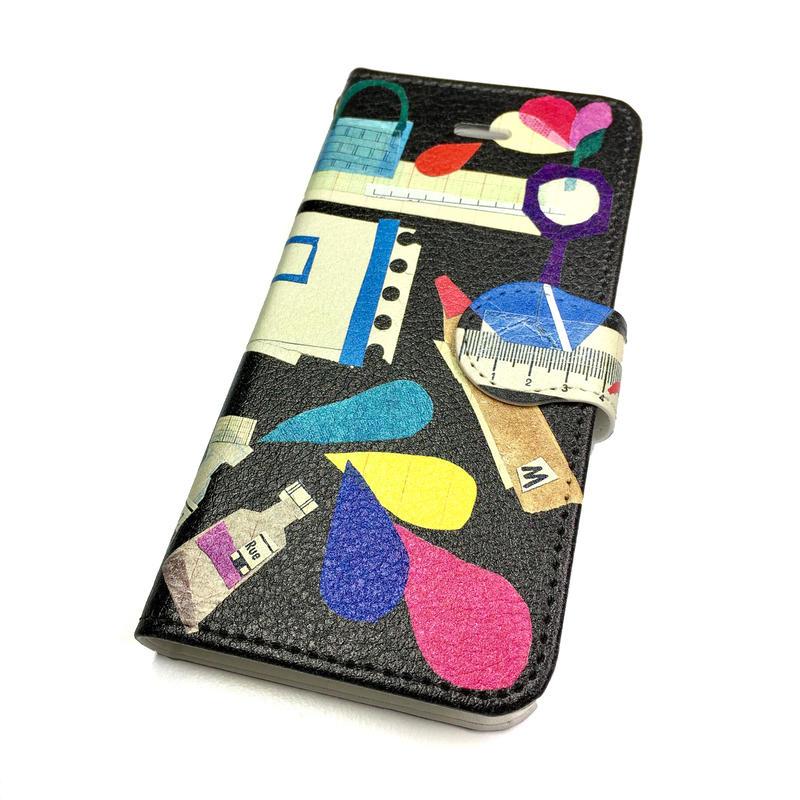 ★10日でお届け【新柄*文房具】【全2色】iphoneXS/X/8/7/6S/6/SE手帳型ケース