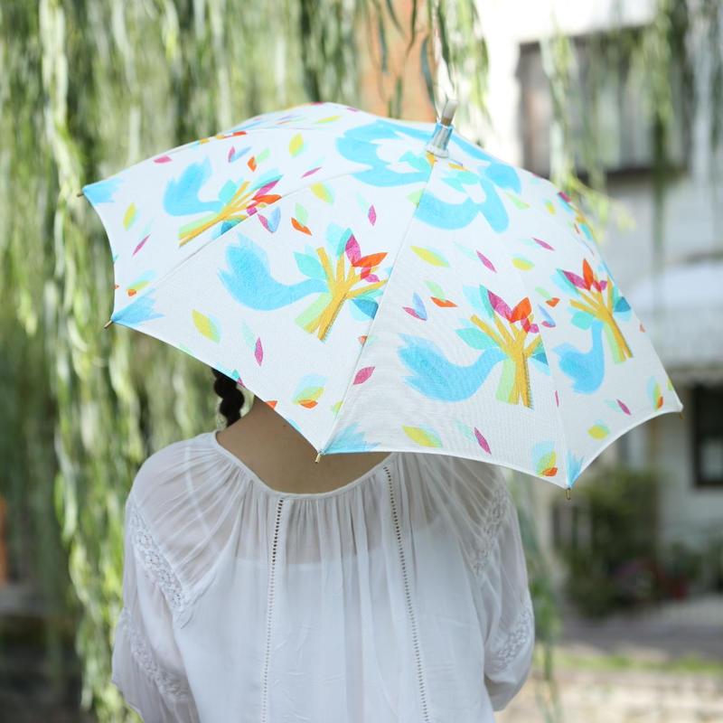 【鳥】(ロワゾ)日傘【全1色】(手元:革編み)