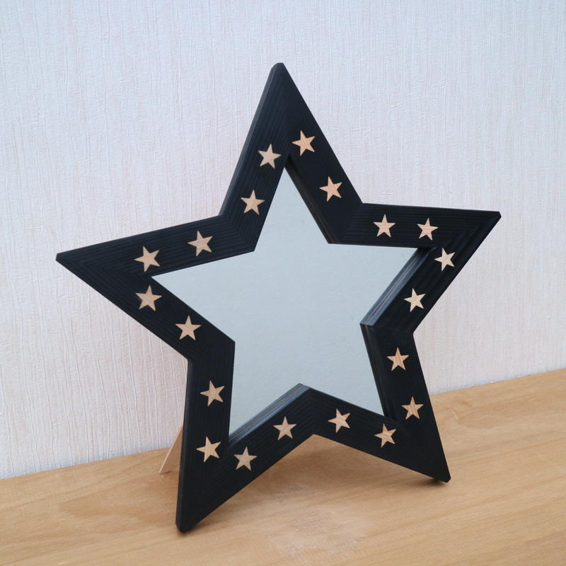 2way星型ミラー ブラック×星