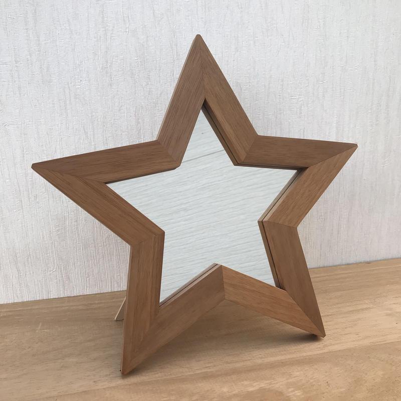 星型ミラー  2way  マホガニー材