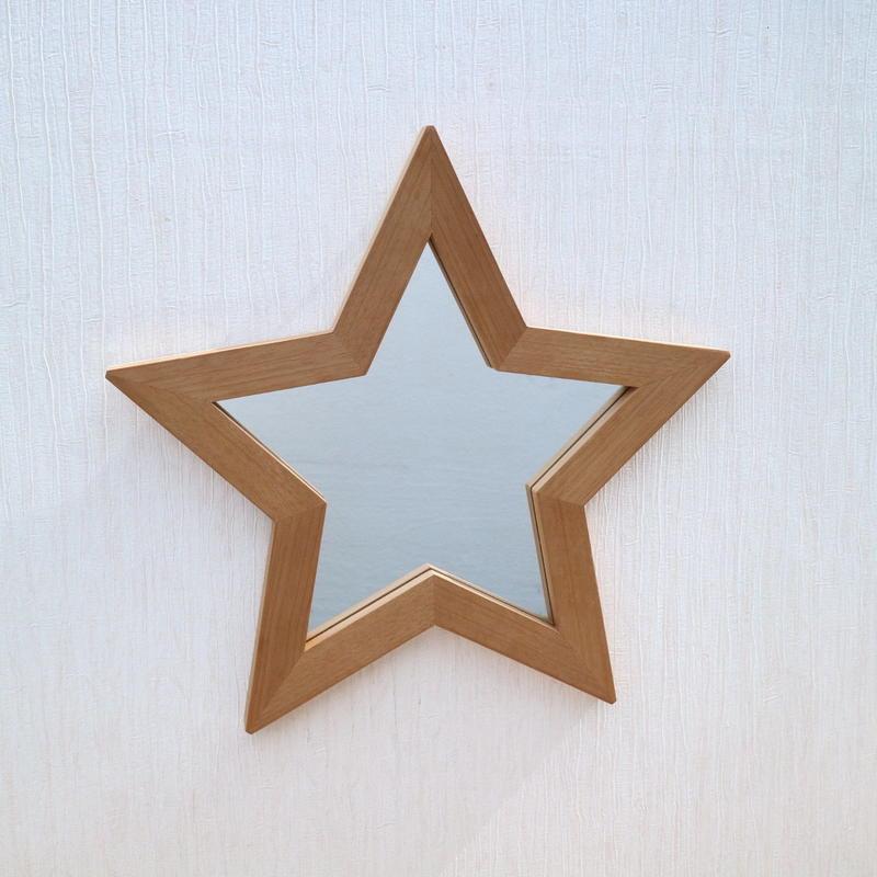 星型ミラー  大  マホガニー材