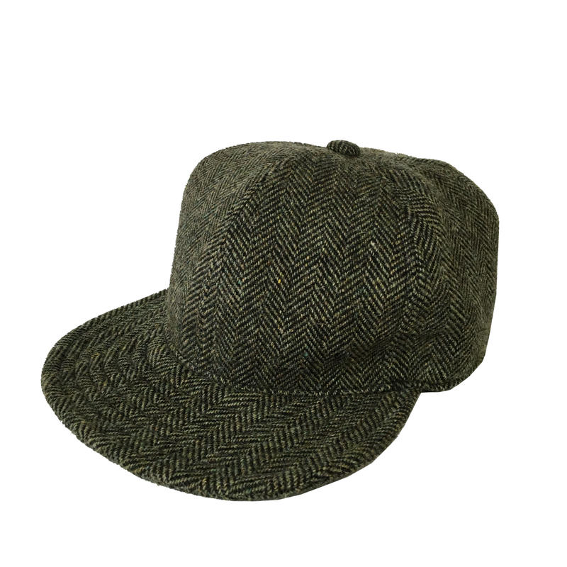 SNAP BACK CAP HERRINGBONE WOOL SMOKE GREEN