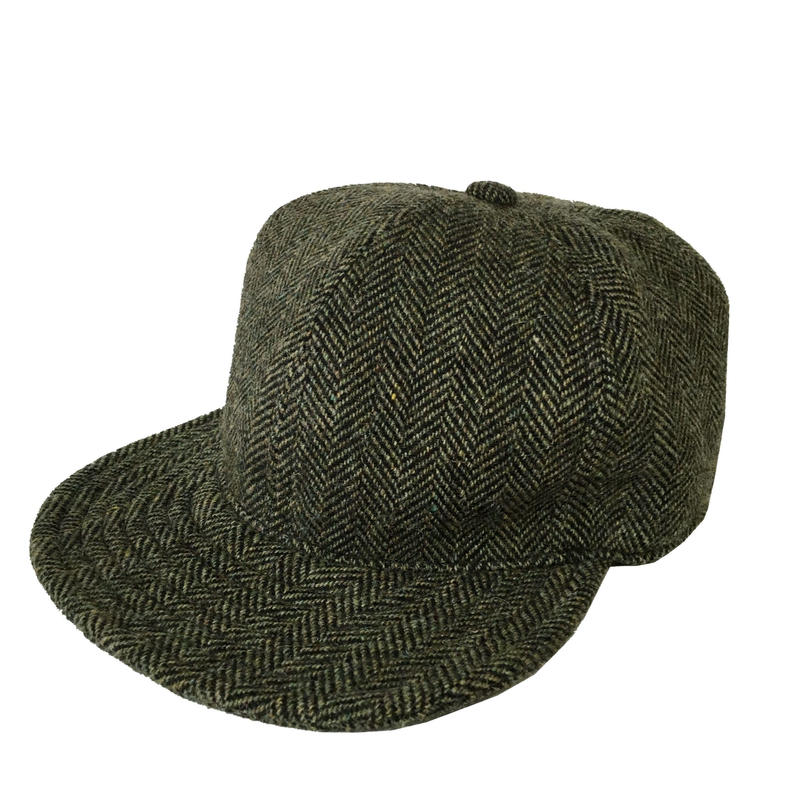 【在庫あり】SNAP BACK CAP HERRINGBONE WOOL SMOKE GREEN (SIZE M)