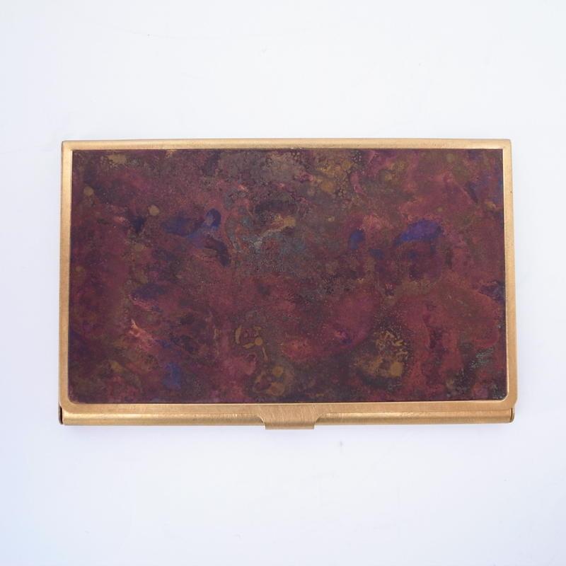 CORROSION BRASS CARDCASE HANMON KUJYAKU( 斑紋孔雀色)