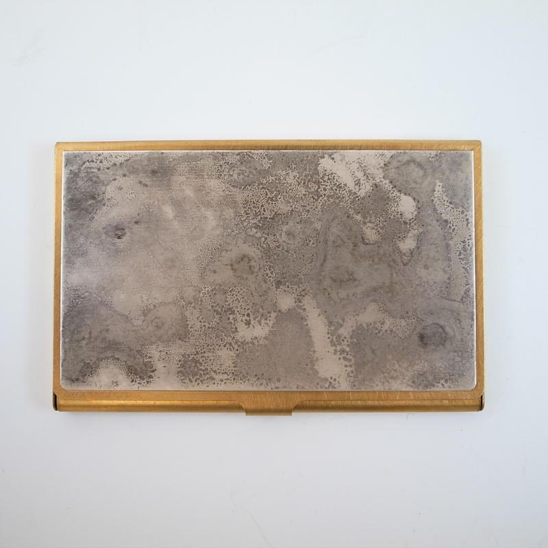 CORROSION BRASS CARDCASE HANMON JYUNGIN( 斑紋純銀色)