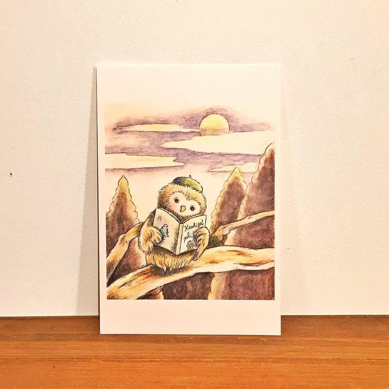 ポストカード(本読むかしげちゃん)