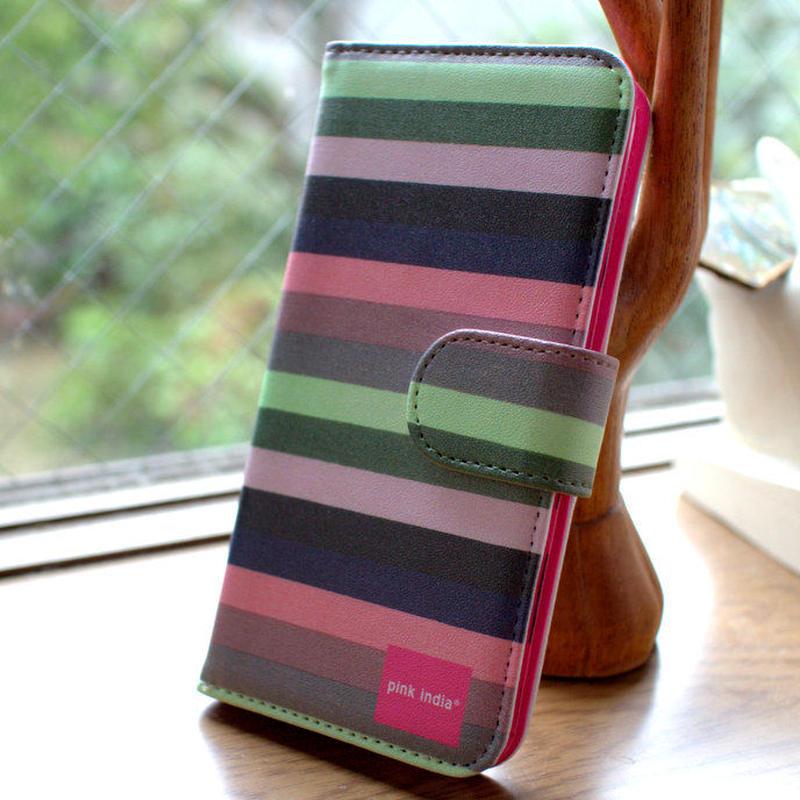 pink india iphone5/5s 用手帳型ケース Svea stripe