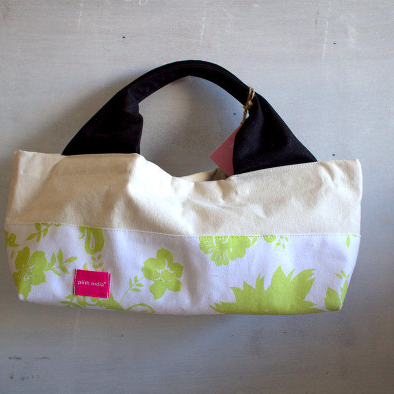 柄は画像通り!boat shape tote bag / mint green