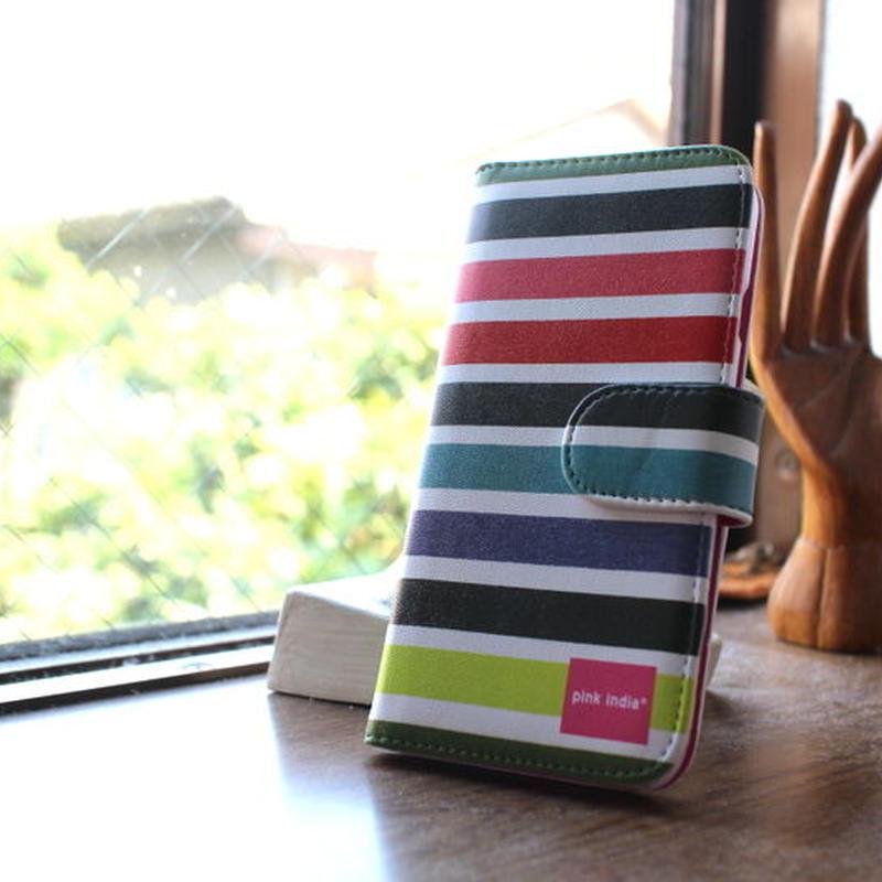 iphone6/6s 用手帳型ケース multi stripe