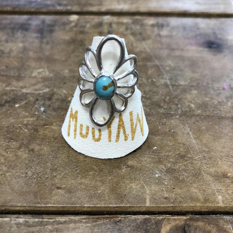 Muuyaw silver flower  turquoise ring