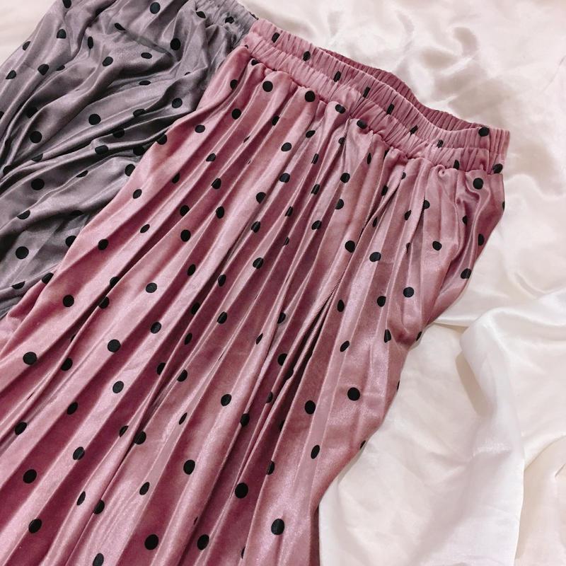 [blackカラー再入荷] ドットロングスカート