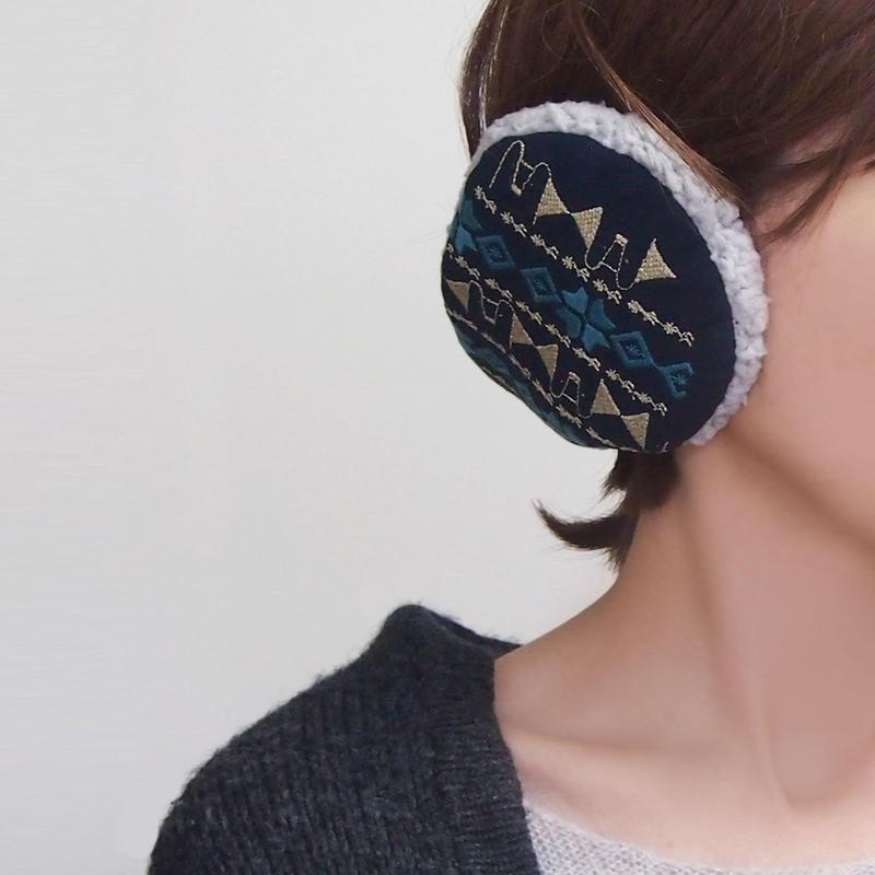刺繍模様のイヤーマフ001号(受注生産)【送料無料】