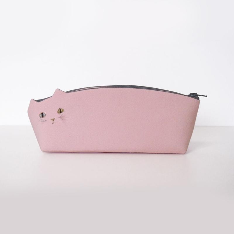 ねこペンケース ピンク【受注生産】