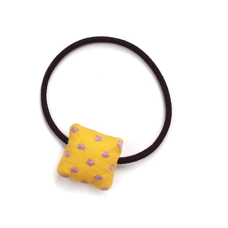 四角いへアゴム ドット刺繍(薄紫)【送料無料】