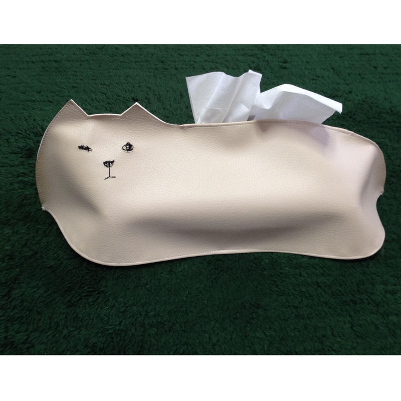 白猫のティッシュケース(ベージュ)◎送料無料【受注生産】