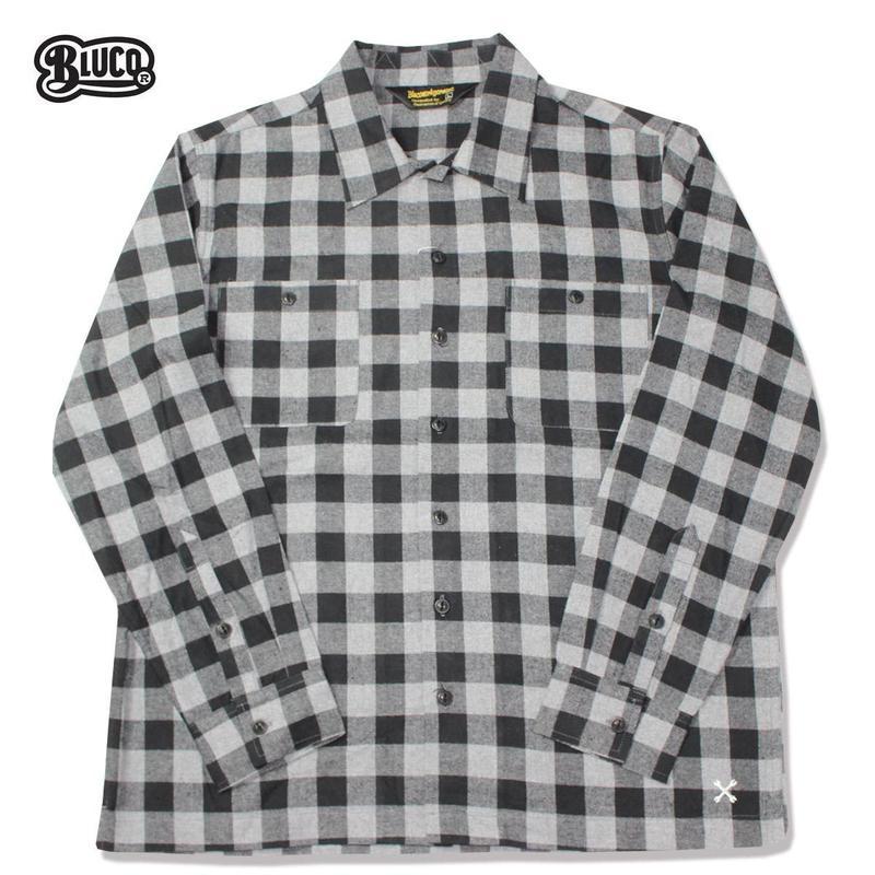 BLUCO(ブルコ)OL-048-018 BUFFALO CHECK SHIRTS グレー