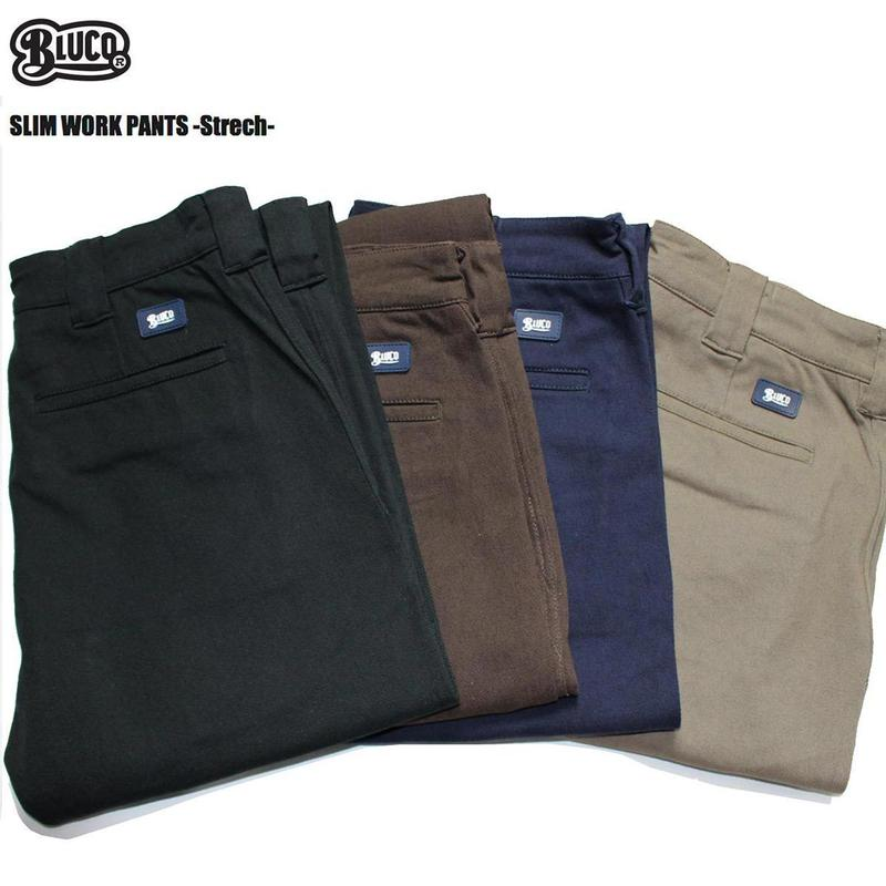 BLUCO(ブルコ)OL-063E-018 SLIM WORK PANTS -Strech- 全4色(ブラック・カーキ・ブラウン・ネイビー)