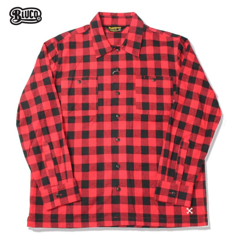 BLUCO(ブルコ)OL-048-018 BUFFALO CHECK SHIRTS レッド