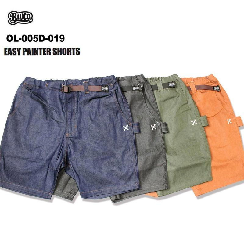 BLUCO(ブルコ) OL-005D-019 EASY PAINTER SHORTS -ストレットデニム- 全4色(ブラック・ネイビー・オリーブ・ブラウン)