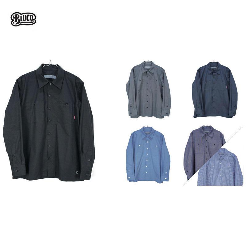 BLUCO(ブルコ)OL-109 STD WORK SHIRTS L/S ブラック/ネイビー/サックス/ブルーST/ネイビーST