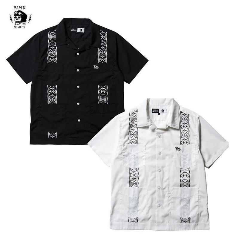 PAWN(パーン)CUBA  SHIRT ブラック/ホワイト