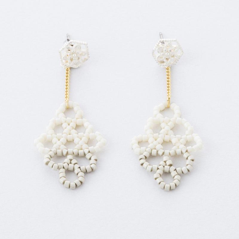 サークルダイヤビーズピアス /  Circle beads Diamond-shaped Pierce