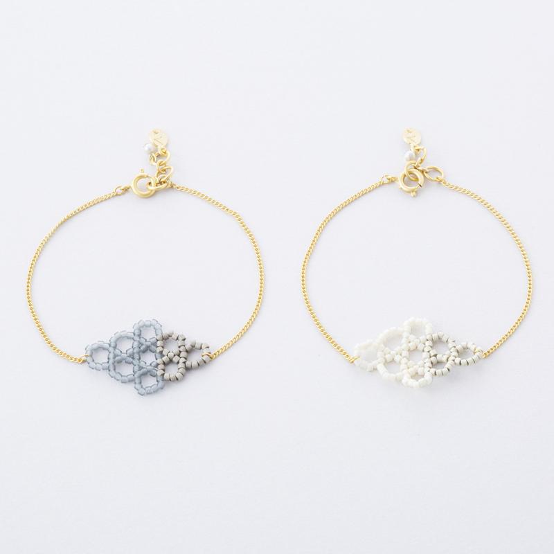 サークルダイヤビーズブレス  /  Circle beads Diamond-shaped Bracelet