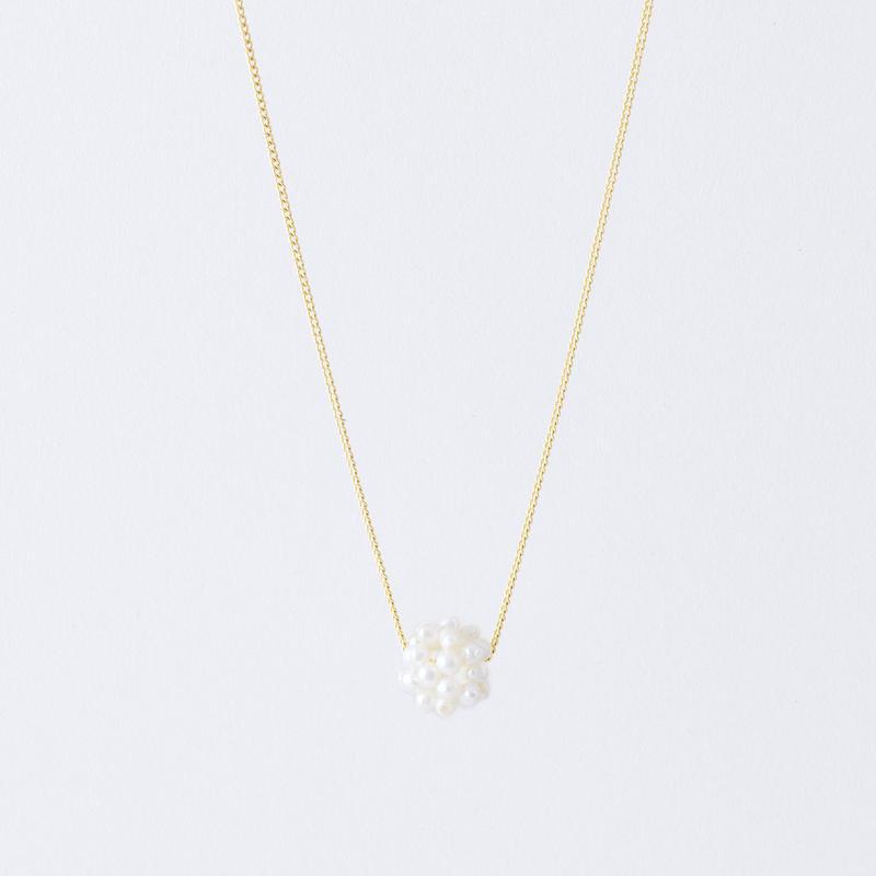 淡水パールフラワーボールネックレス  /  Freshwater pearl flower ball Necklace