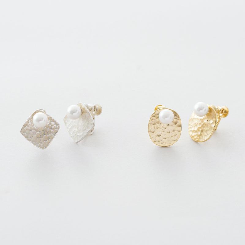 ツチメキカプレートイヤリング /  Brass Hammered finish Plate Earrings