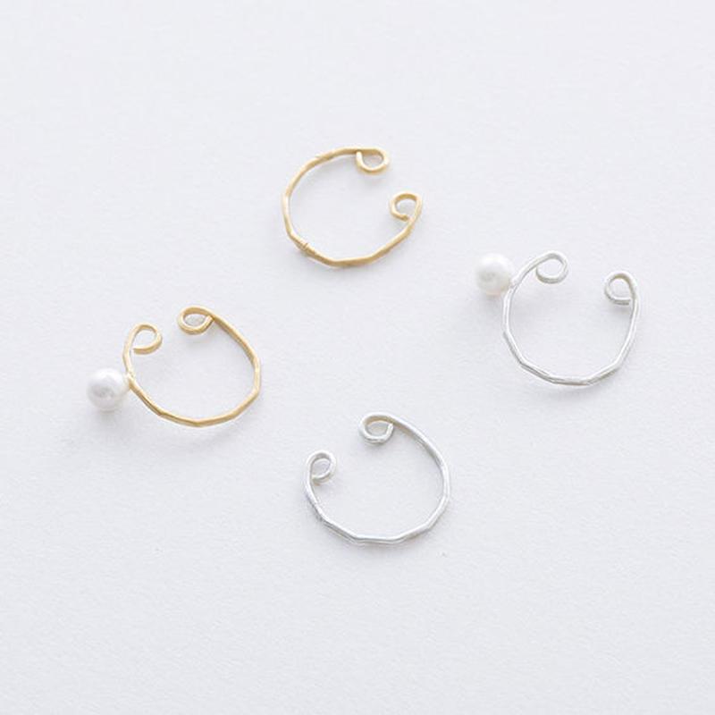 ツチメイヤカフ貝パールset  /  Brass Hammered  Earcuff  2set(Pearl)