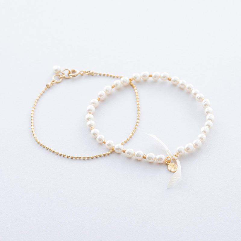 バロックパール&チェーン2setブレス  / Baroque pearl & Chain 2set Bracelet