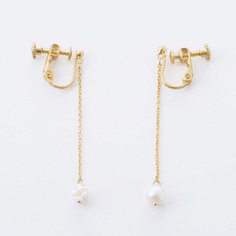 淡水パールくす玉イヤリング /  Freshwater pearl Kusudama (ornamental balls) Earrings