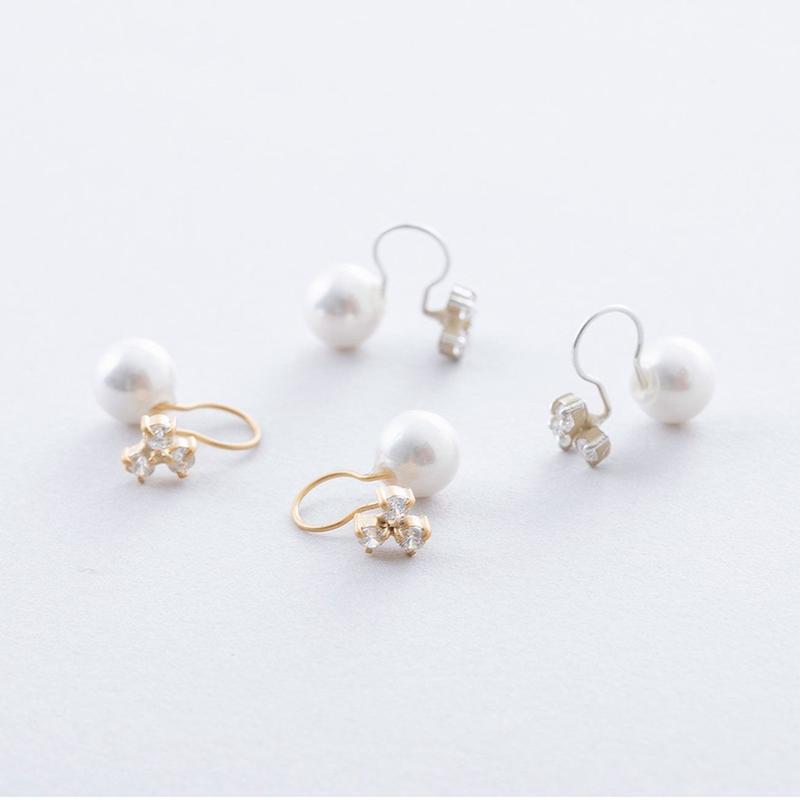 3ドットジルコニア&パールイヤクリップ / Cubic zirconia of 3 drop s &Pearl  Ear clip