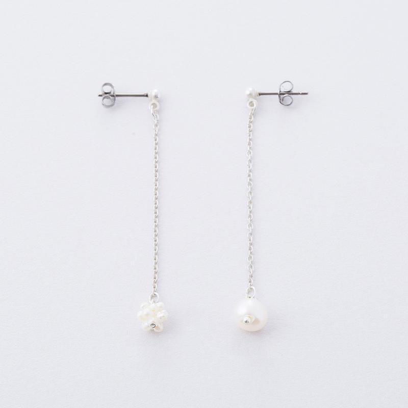 淡水パールくす玉ピアス  /  Freshwater pearl Kusudama (ornamental balls) Pierce