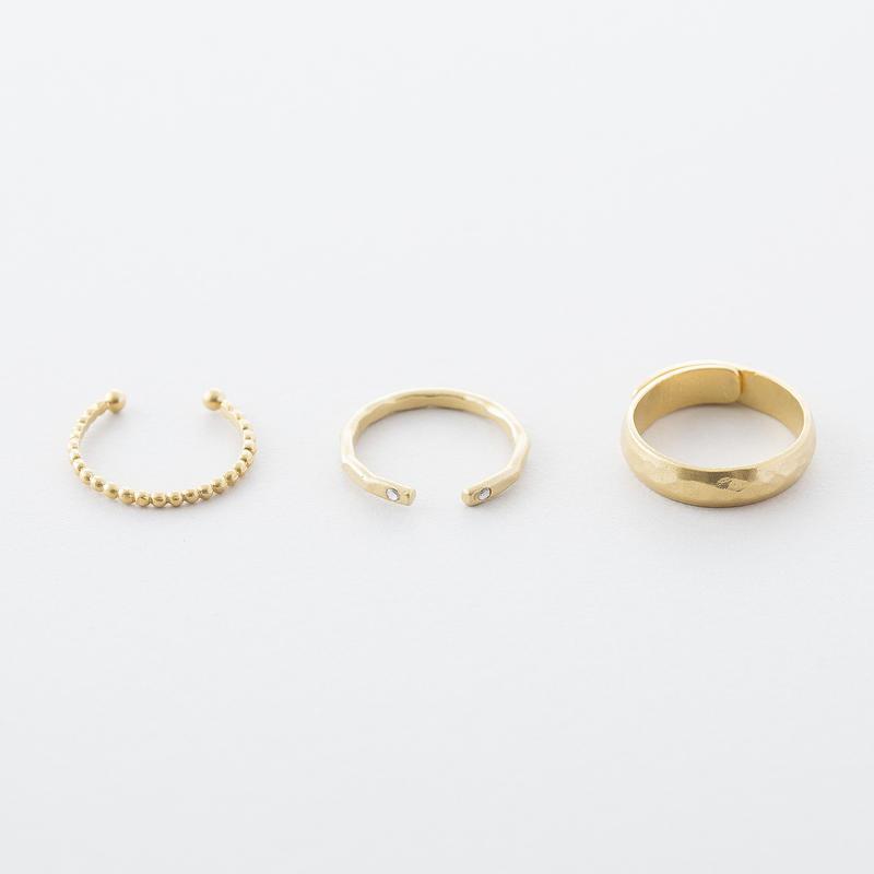 グレイニー3setリング / Grainy design 3set Ring
