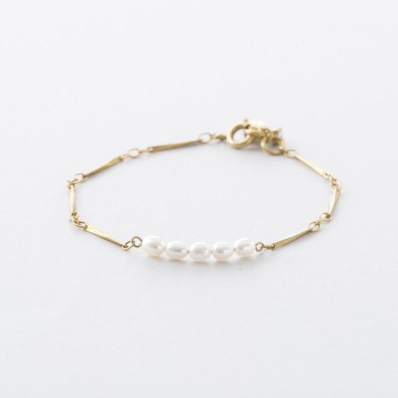 ライスパール小波チェーンブレス /  Rice pearl and facet chain Bracelet