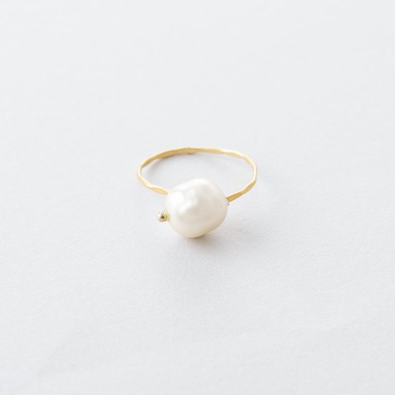 バロックパール×ツチメリング /  Baroque pearl × Brass Hammered Ring