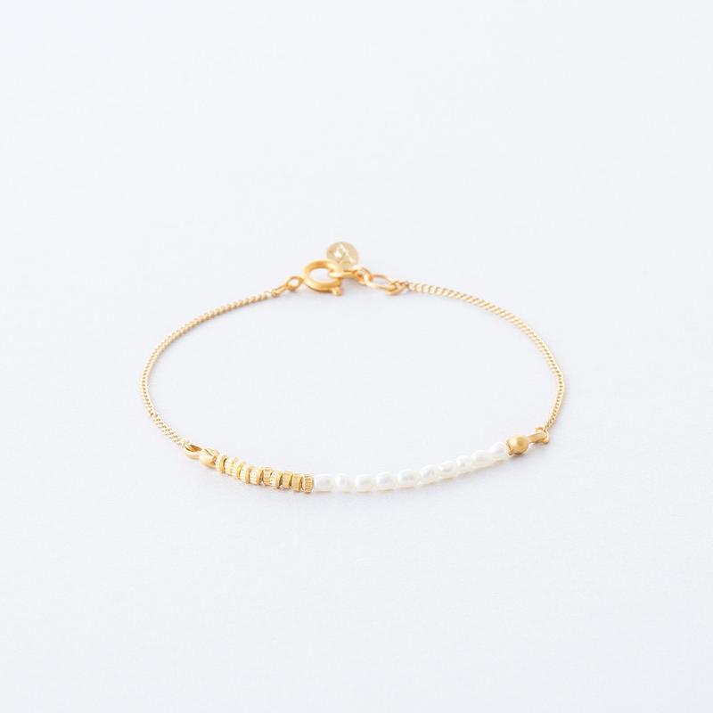 淡水シードパールチェーンブレス  /  Freshwater seed pearl Chain Bracelet